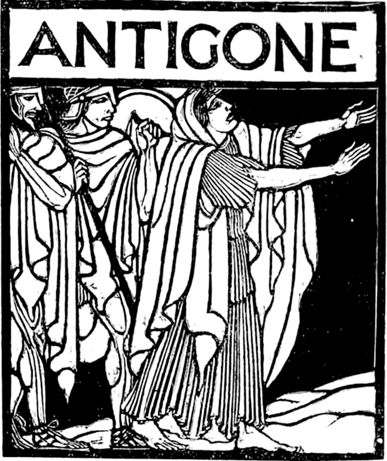 From 'Edipo re, Edipo a Colono, Antigone', Adolfo de Carolis (1929). Public Domain via Wikimedia Commons.