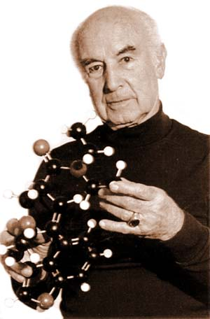 Dr. Albert Hofmann with a model of the LSD molecule, courtesy of the Beckley Foundation