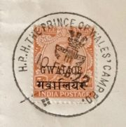 Special postmark stamp for Prince of Wales in India